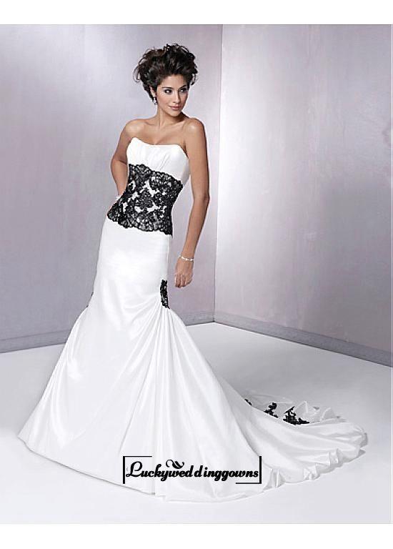 An Elegant Taffeta Strapless Mermaid Wedding Dress