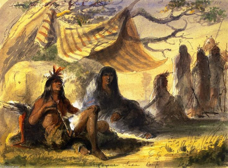 'Pawnee Indian Camp', Watercolour by Alfred Jacob Miller (1810-1874, United States)