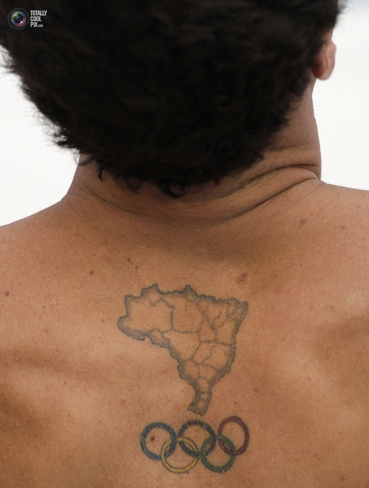 A tattoo in the shape of Brazil is seen in the back of Hugo Parisi of Brazil during his 10m diving platform practice session for the Beijing 2008 Olympic Games August 4, 2008.