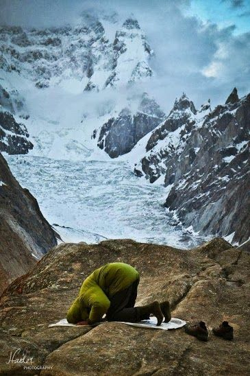 Namaz time in the heart of mighty mountains of karakoram