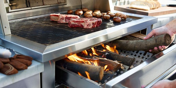 Grill with gas, charcoal and wood in any combination on one grill