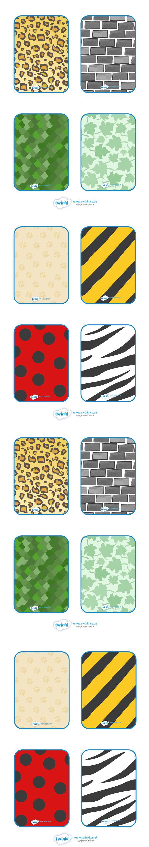 Twinkl Resources >> Matching Pattern Cards >> Thousands of printable primary teaching resources for EYFS, KS1, KS2 and beyond! matching cards, sorting cards, pattern, matching, animal patterns, giraffe, zebra, leopards,