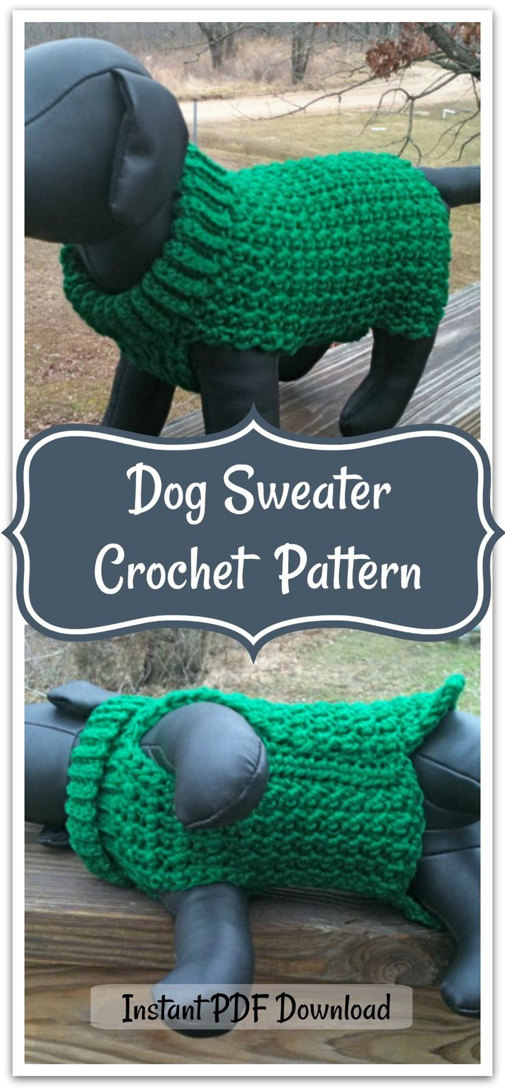 It's an easy little sweater with pictures and directions that you can use for any size dog. It's written for a tiny dog like a Yorkie or a small Chihuahua, but it has gauge and measurements so you can make one for a bigger dog if you choose. Instant PDF download #ad #affiliate #crochet #pattern #dog