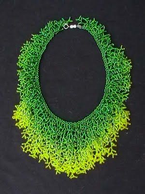 Necklace | Leah Henriquez Ready . Coralling stitch using seed beads, Ombre fringe
