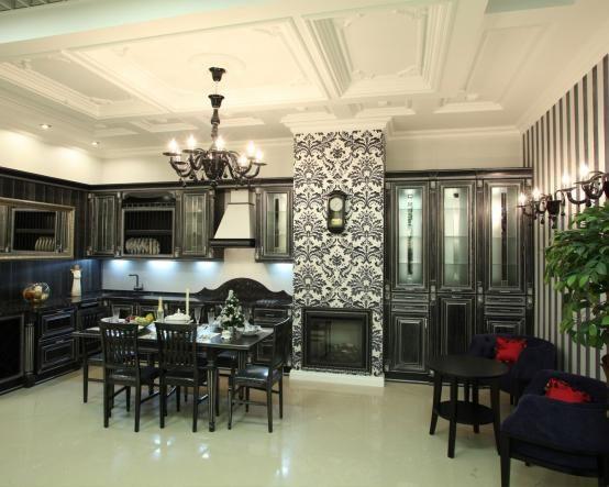 Угловая большая кухня Арель из массива. Черный цвет, викторианская классика – это всегда красиво http://www.mebel-zevs.ru/kukhni/kuhnja-43