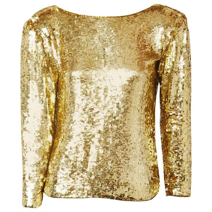 Yves Saint Laurent Gold Sequined Top | From a collection of rare vintage blouses at https://www.1stdibs.com/fashion/clothing/blouses/
