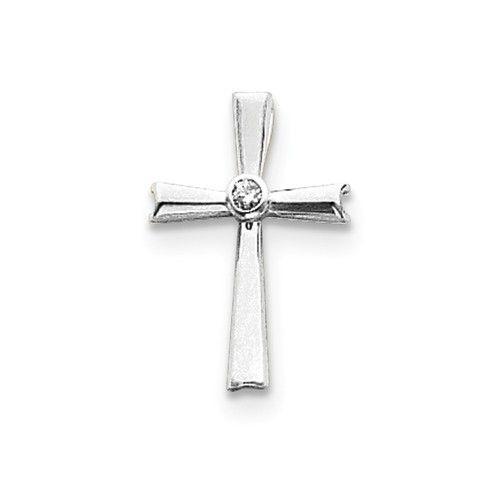 14K Rose Gold 14k White Gold H/I1 Quality Diamond Cross Pendant