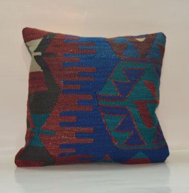 Zig Zag Turkish Kilim Pillow Bohemian Ethnic Cushion Cover Wool Euro Sham Vintage Handwoven Pillow 40x40 Rustic Home Decor 16x16'
