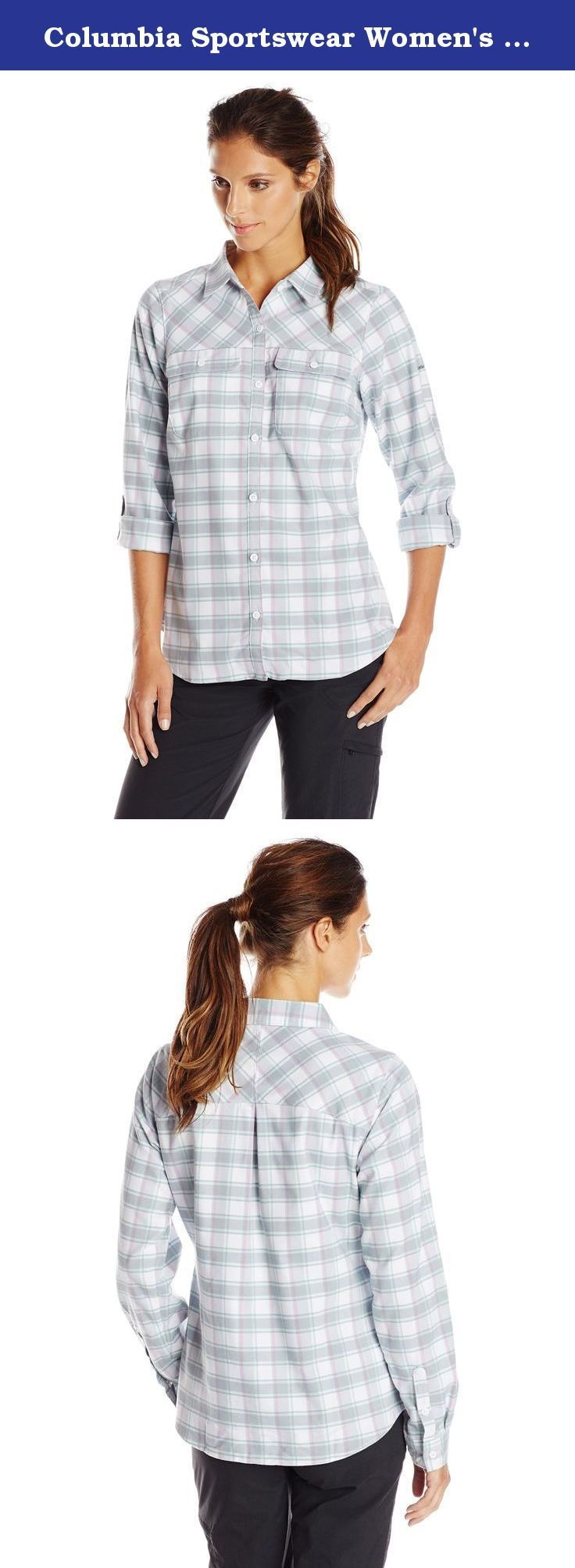 Columbia Sportswear Women's Saturday Trail II Flannel Shirt, Blueglass, X-Large. The softness and rugged style of true flannel with the comfort and mobility of performance stretch—this modern take on the flannel button-up features a longer, feminine silhouette that moves with you, as well as breathable, sweat-wicking technology for supreme comfort out on the trail.