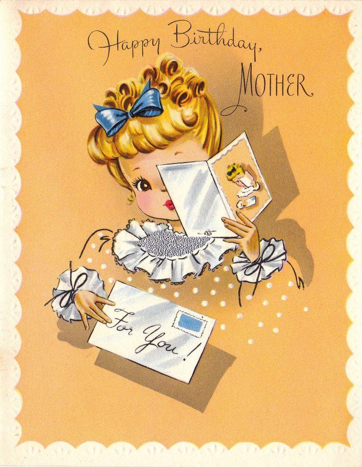 Vintage 1950s UNUSED Happy Birthday Mother by poshtottydesignz