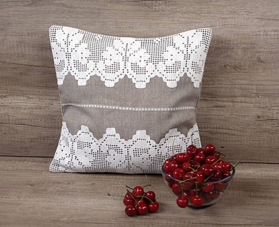Grey white filet crochet embroidered decorative pillow cover