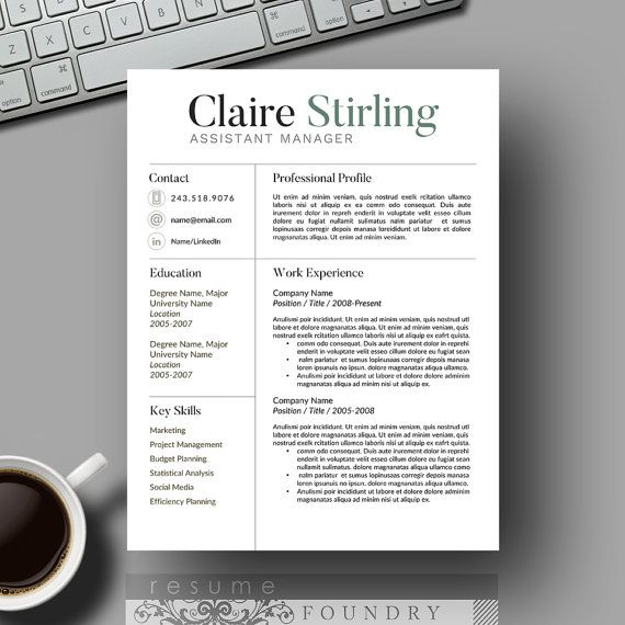 Super tidy, minimalist, modern resume template from Resume Foundry.