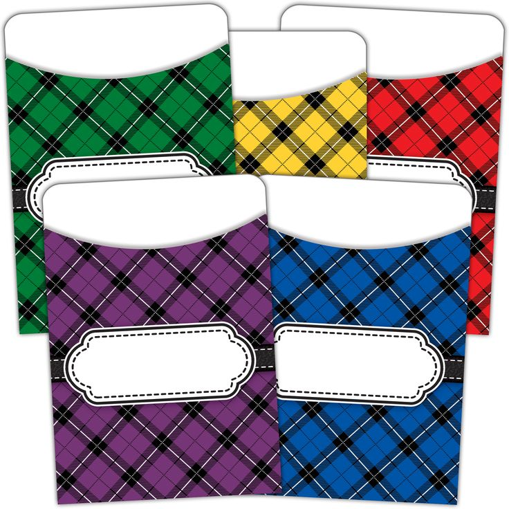 Plaid Library Pockets - Multi Pack - These handy little holders have a multitude of uses inside the classroom and elsewhere! Put them on a bulletin board for an instant job chart! Add them to a classroom center to manage the work that students do there. Use them to hold craft sticks, game pieces, and 3x5 index cards. Of course, you can put them inside the books in your classroom library, too!