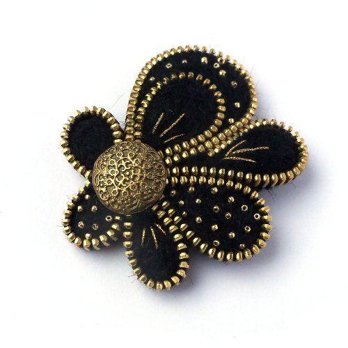 Broche de cremallera inusual flores de fieltro por PinkiWorld