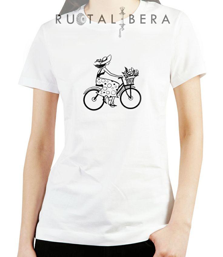 RUOTALIBERA Women t-shirt Modello/Model: Holland Flowers Colore/Colour: bianco/white taglia/size: S,L