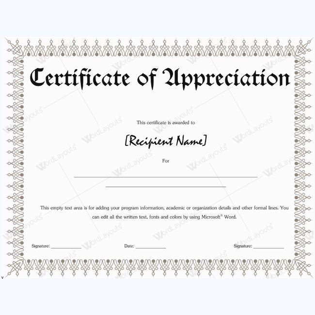 26 best Certificate of Appreciation Templates images on Pinterest - certificate of appreciation wordings
