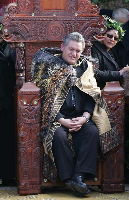 The seventh Māori king, Te Arikinui Tūheitia Paki, is seen on the carved throne at Tūrangawaewae in 2006, soon after his accession to the kingship.