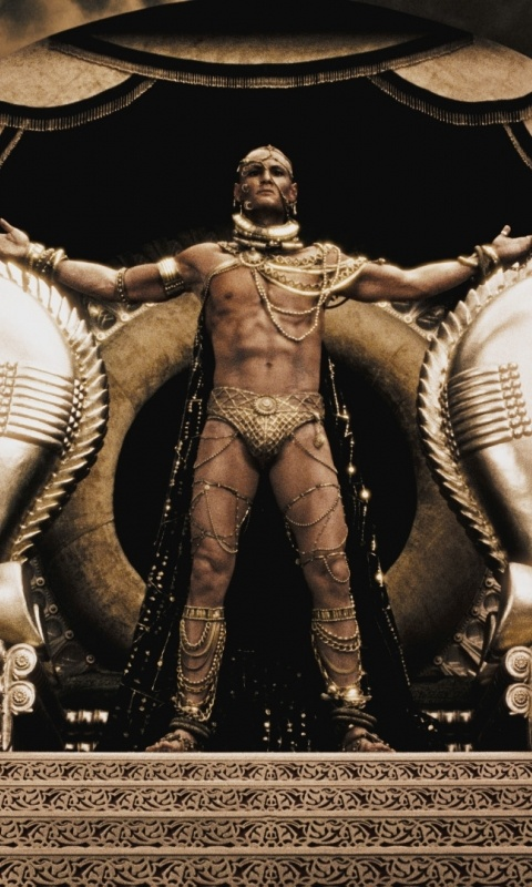For 3 days the 300 Spartan men held the 10,000 Persian Immortals back. Xerxes, a symbol of wealth, is practically made of gold. His jewelry, his clothes, and even his skin are gold. To defeat the 300 Spartans, Xerxes had to bribe Theron and Ephialtes. Theron was bribed to prevent Spartan reinforcements from coming and Ephialtes was bribed to ensure the ambush would win this war for Xerxes.