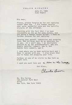 Read an Affectionate Letter from Frank Sinatra to Mia Farrow | Vanity Fair