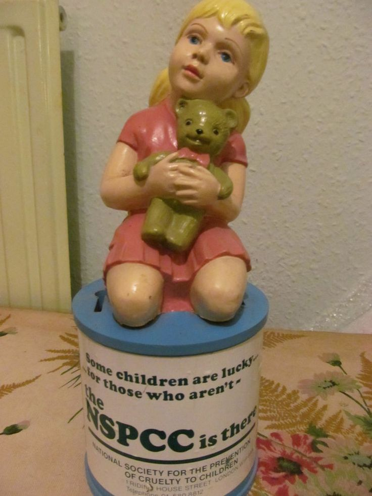 Vintage charity collection box,NSPCC, large,vgc
