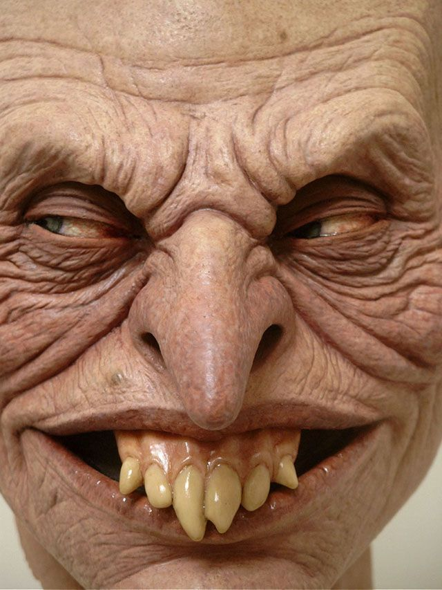 Talk about capturing evil in an expression! Every wrinkle and discoloration of this amazing face is the work of sculptor Jordu Schell. He creates monsters and creatures, primarily for the film and television industry. Since his start in 1987, his work has been featured in Avatar, Alien vs. Predator, and many other productions. You can see more of his work at www.schellstudio.com