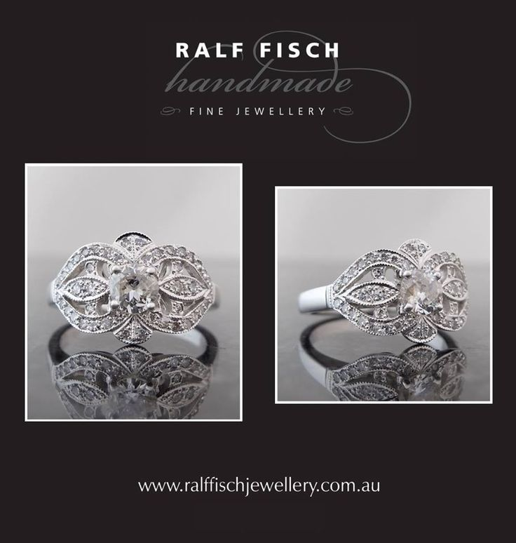 18ct white gold entirely handmade engagement ring with a round brilliant cut centre diamond framed by smaller single cut diamonds. A stunningly bold ring which flows gently around the finger, it is perfectly suited to the older style single cut diamonds.