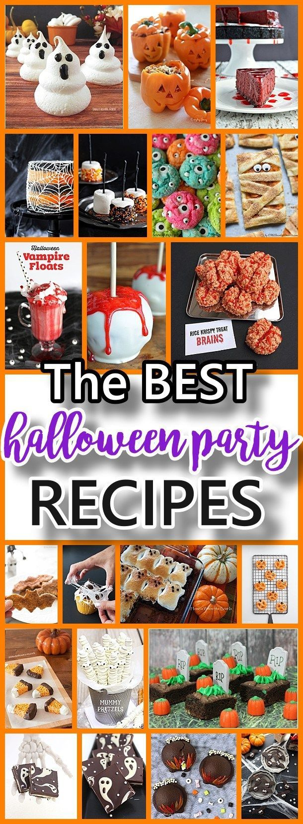 THE BEST Halloween Party Treats - Appetizers and Desserts Recipes - Party food for ghouls and goblins of all ages! Yummy and spooky recipes your All Hallows Eve party guests will love and remember!