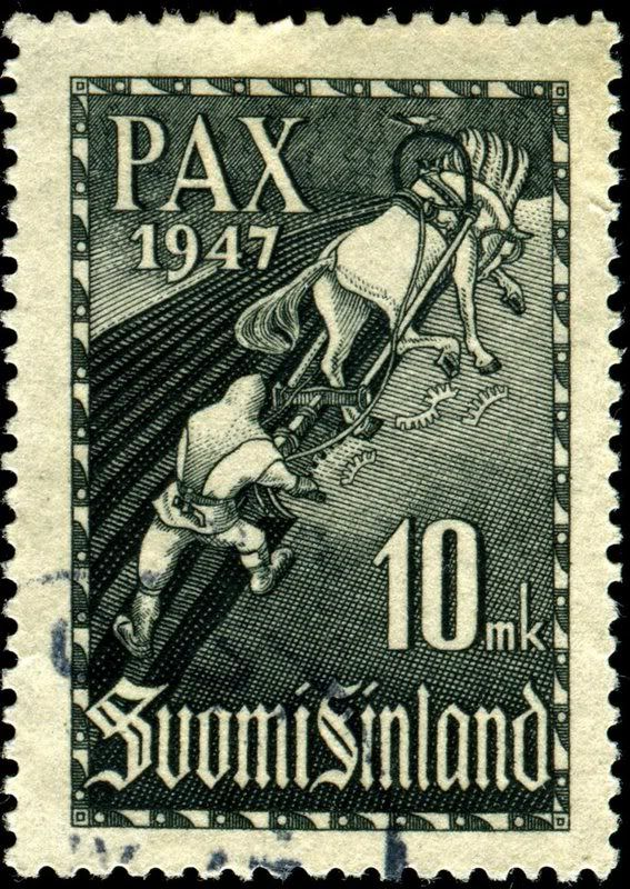 "The peace stamp: ""Ilmarinen plows a snake field,"" a scene from the national epic, Kalevala, designed by Hammarsten-Jansson after a fresco by Akseli Gallen-Kallela, issued on June 2, 1947, Scott No. 265, Facit No. 337."