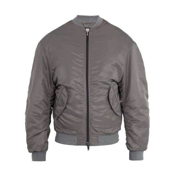 Balenciaga Wobble bomber jacket (€1.605) ❤ liked on Polyvore featuring men's fashion, men's clothing, men's outerwear, men's jackets, grey silver, mens grey bomber jacket, mens grey jacket and mens gray leather jacket