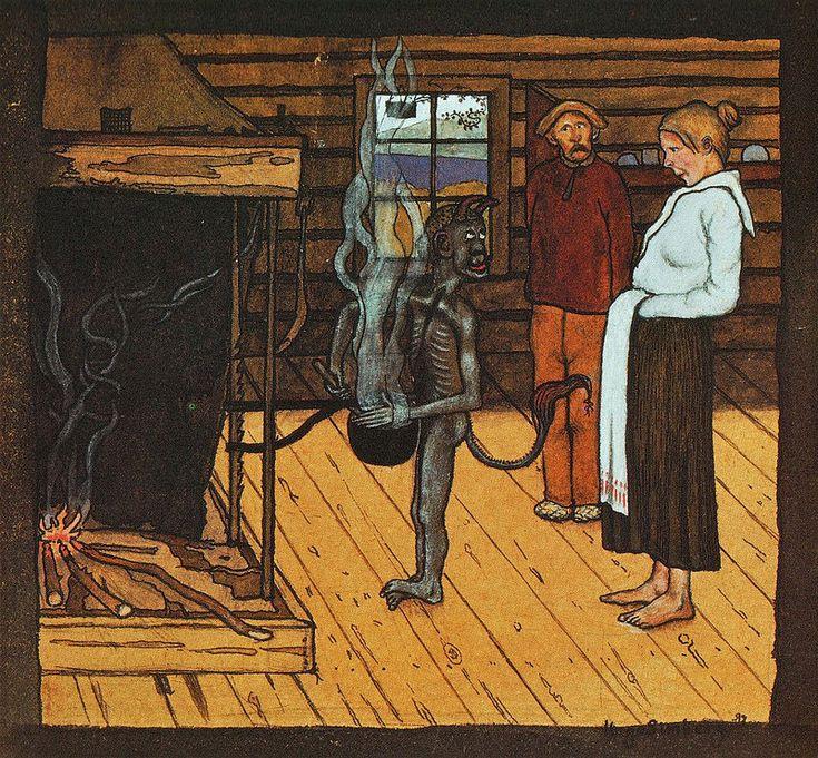 Hugo Simberg - Devil In Front Of A Pot, 1897