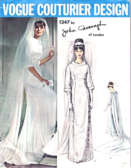1960s Wedding Dress Bridal Gown Pattern Vogue Couturier Design 1347 John Cavanagh  Of London Elegant Empire Dress  Bust 31 Vintage Sewing Pattern