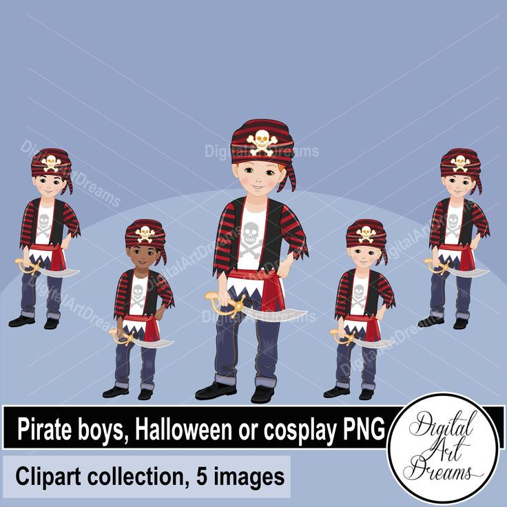 Pirate boy clipart, cute male pirates, little boys images, African American, characters clip art, Halloween printables, cosplay party