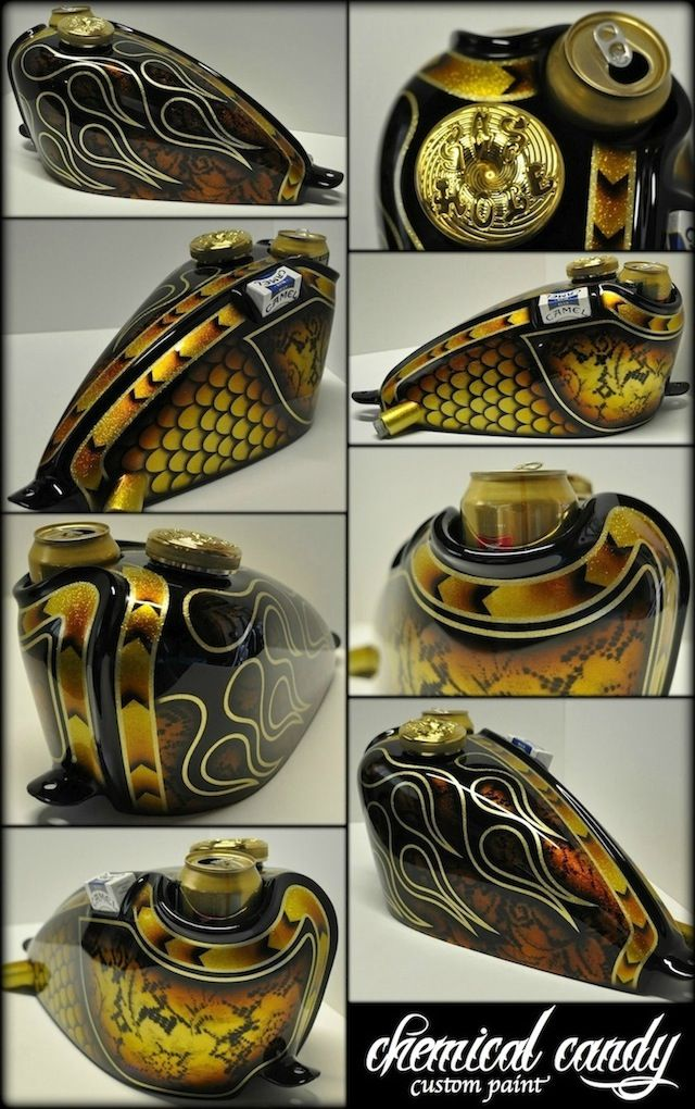 Bobber/Chopper fuel tank, w/ cupholder and a place for your smokes... Painted by Chemical Candy Customs