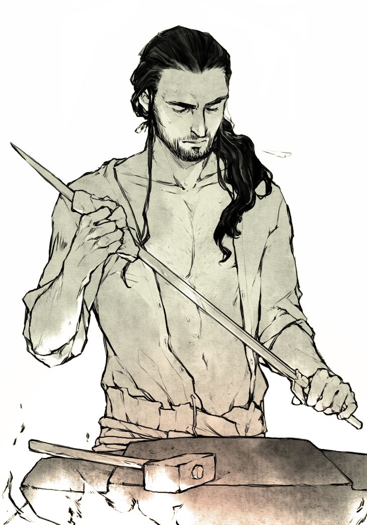 """lanimalu:  A friend and I were talking about the anvil-scene at the beginning of The Hobbit. We're a bit disappointed that Thorin's wearing a shirt there. He's shirtless in the art  design book. 8D"""""""