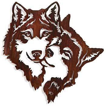 5512194571:Devoted Wolves Silhouette Laser Art