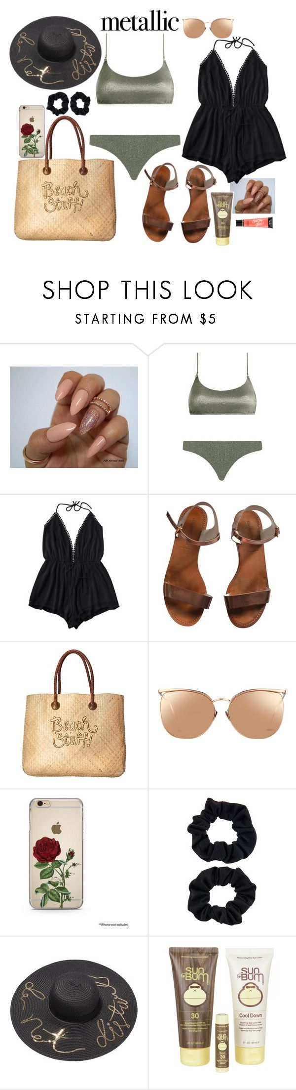 """metallic swimwear"" by giulivittori ❤ liked on Polyvore featuring Zimmermann, Emporio Armani, White Stuff, Linda Farrow, Accessorize, Sun Bum and Victoria's Secret"