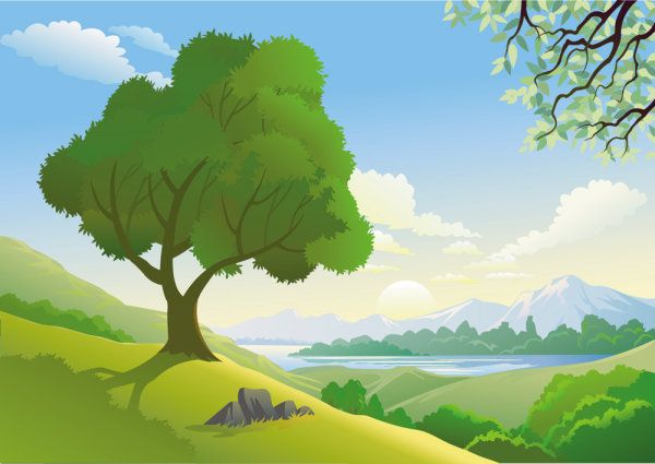 Beautiful landscapes free - vector