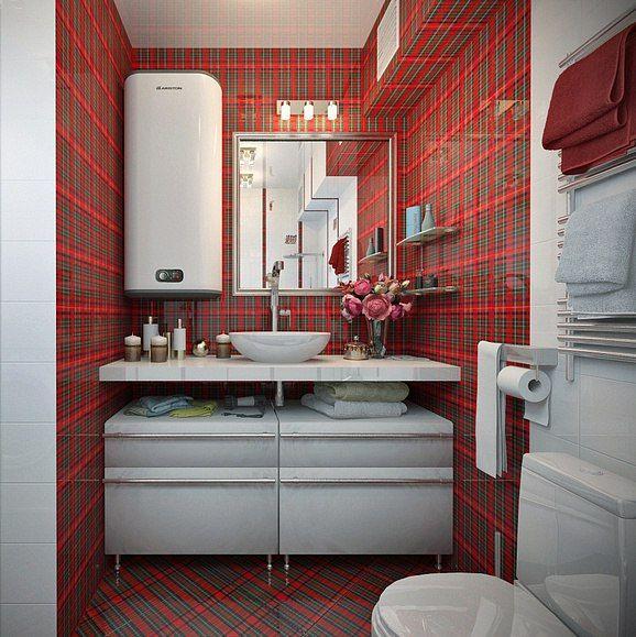 Красная шотландская ❤ клетка такая уютная и домашняя: греет как её шерстяные праотцы и радует, напоминая подарочную коробку! Любители красного оценят!  #сантехника #дизайн #ванна