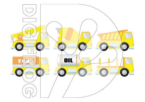 Yellow trucks digital poster transportation clip art by DigiFrog