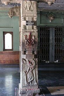 "Kumara Vyasa - Kumaravyasa stambha (""Kumaravyasa's pillar"") in the large mantapa of the Veeranarayana temple in Gadag, where Kumara Vyasa is known to have written his epic, the Kumaravyasa Bharata"