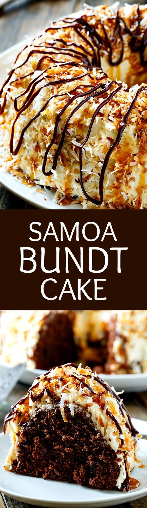 Samoa Bundt Cake- a moist chocolate cake covered in caramel icing and toasted coconut.
