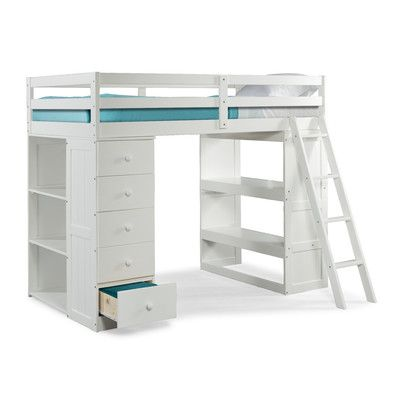 skyway twin loft bed with desk and storage tower wayfair - Loft Twin Bed Frame