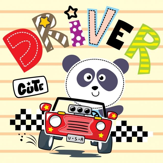 Cartoon Of Cute Panda Driving A Red Car Isolated On Striped
