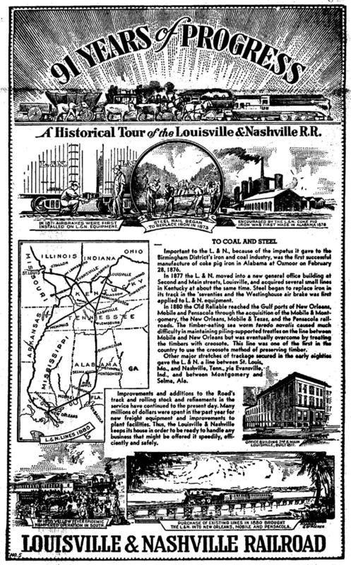 L&N Railroad. 91 Years of Progress. - http://earth66.com/vintage/railroad-91-years-progress/