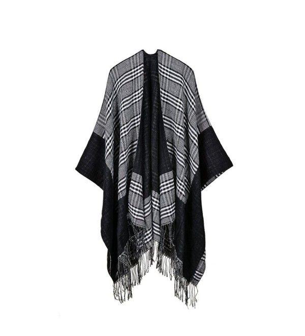 HongHu Women Poncho Shawl Cardigan Open Front Elegant Cape Wrap Cloak Black One size