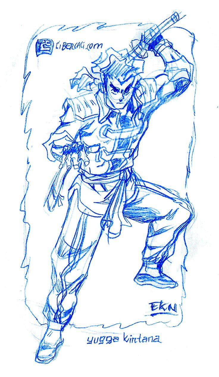 DIBUJO de Yugga Kintana con Espada [Grafito] por EKN   CIBERCALI COMICS: Arte