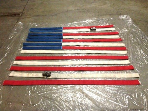 firefighter diy american flag from fire hoses