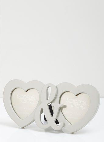 Grey double heart MDF frame - BHS