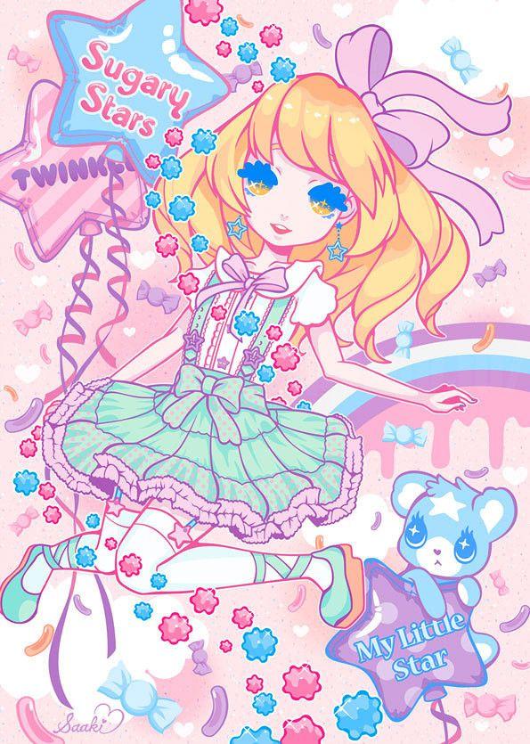 ✮ ANIME ART ✮ pastel. . .fairy ki fashion. . .ribbons. . .stockings. . .skirt. . .ruffles. . .teddy bear. . .balloons. . .candy. . .rainbow. . .colorful. . .cute. . .kawaii