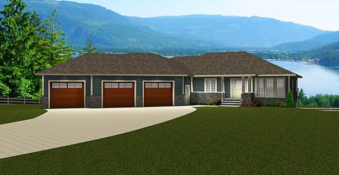 House Plan 2014836 Bungalow With Walkout 3 Car Angled Garage By Edesignsplans Ca Walkout Bungalow 3 Bedroom F Bungalow House Plans Bungalow House Front